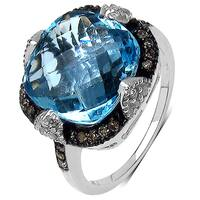 Malaika Sterling Silver 8 1/3ct Genuine Swiss Blue Topaz, Black and White Diamond Ring