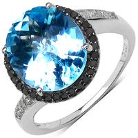 Olivia Leone Sterling Silver 5 1/2ct Genuine Swiss Blue Topaz, Black and White Diamond Ring