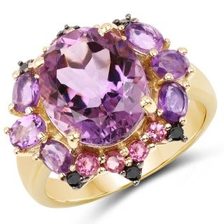 Malaika Yellow Goldplated Sterling Silver 5 3/4Ct Amethyst Rhodolite And Blue Diamond Ring