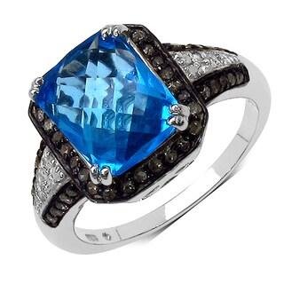 Olivia Leone Sterling Silver 4 1/3ct Swiss Blue Topaz Champagne Diamond and White Diamond Ring