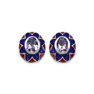 Malaika Sterling Silver 2 2/5ct Genuine Amethyst and White Diamond Earrings