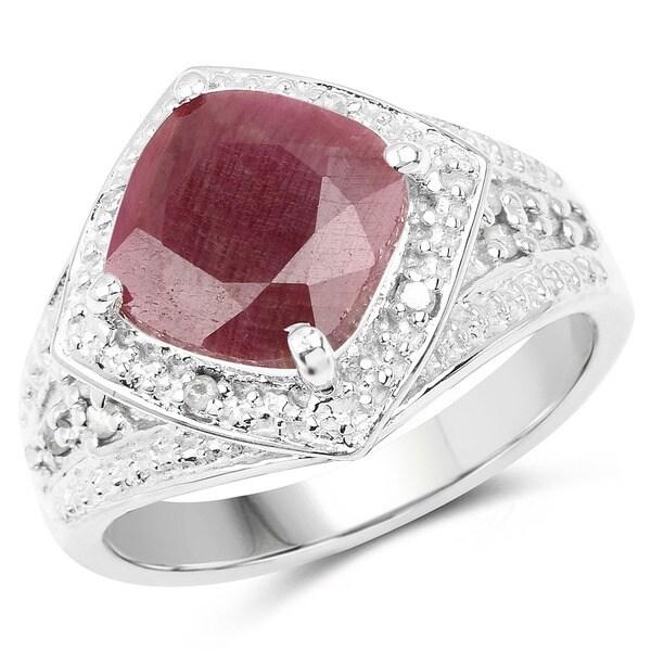 Malaika Sterling Silver 3 4/5ct Genuine Ruby and White Diamond Ring