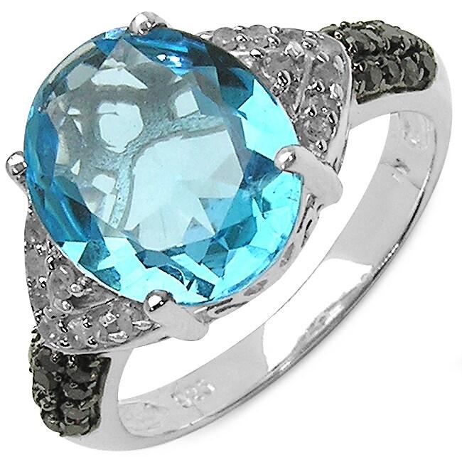 Malaika Sterling Silver 5 1/3ct Genuine Swiss Blue Topaz,...