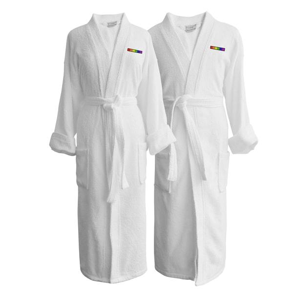 Wyndham Egyptian Cotton LGBT Pride Terry Spa Robe - Flag (Set of Two; Hetero couple)