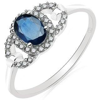 Olivia Leone 10k White Gold 3/4ct Blue Sapphire and Diamond Ring