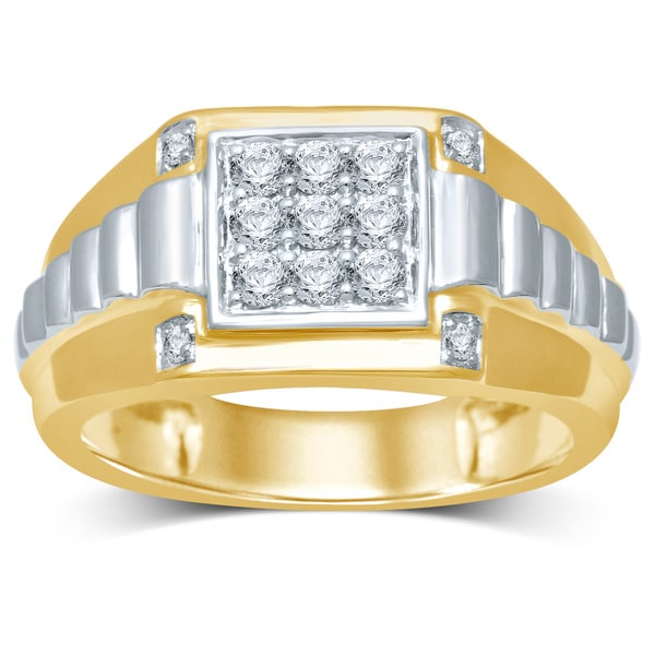Unending Love 10k Yellow Gold 12 ctw Diamond Gents Wedding Ring