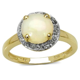 Malaika .925 Sterling Silver 1.47 Carat Genuine Ethiopian Opal & White Topaz 14K Yellow Gold Plated Ring