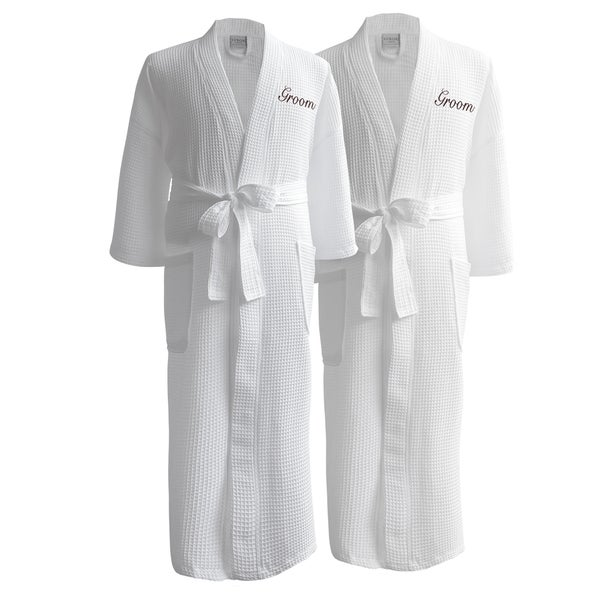 5f2160324a Shop Conrad Egyptian Cotton Groom   Groom Waffle Spa Robe Set - Free ...