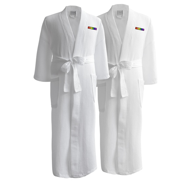 Conrad Egyptian Cotton LGBT Pride Waffle Spa Robe - Flag (Set of Two, Male)