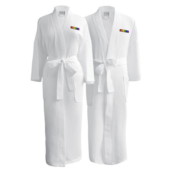 Conrad Egyptian Cotton LGBT Pride Waffle Spa Robe - Flag (Set of Two- hetero couple)