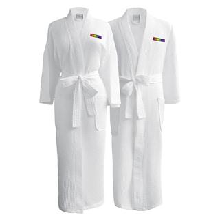 Conrad Egyptian Cotton LGBT Pride Waffle Spa Robe - Flag (Set of Two- hetero couple)