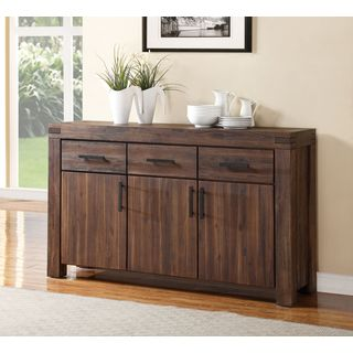Wire Brushed Three Drawer Three Door Solid Wood Sideboard in Brick Brown