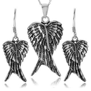 Journee Collection Sterling Silver Angel Wing Necklace and Earring Set