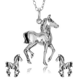 Journee Collection Sterling Silver Baby Horse Necklace and Earring Set