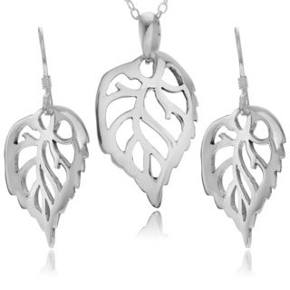 Journee Collection Sterling Silver Leaf Necklace and Earring Set