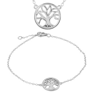 Journee Collection Sterling Silver Tree of Life Necklace and Bracelet Set