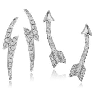 Journee Collection Sterling Silver Cubic Zirconia Accent Ear Pin Earring Set