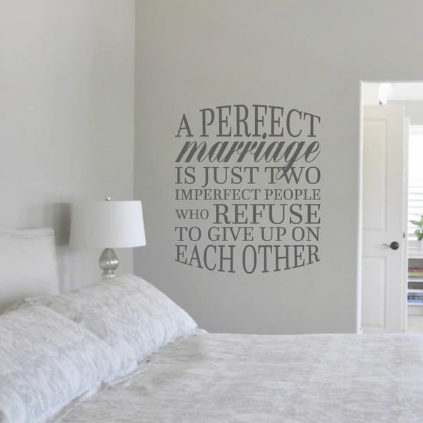 """A Perfect Marriage Quote Wall Decal (31"""" wide x 36"""")"""