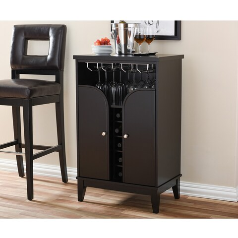 Easton Modern and Contemporary Dark Brown Wood Modern Dry Bar and Wine Cabinet