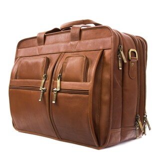 Muiska Vaquetta Leather Sydney Deluxe Expandable Triple Compartment 17-inch Laptop Briefcase