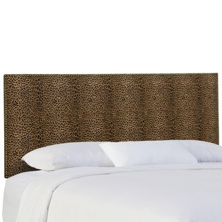 Skyline Furniture Nail Button Headboard in Cheetah Earth