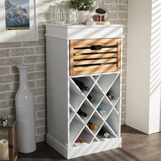 Baxton Stuido Dresdon British Colonial Classical Country-style White and Natural 1-drawer Cabinet with Built-in Wine Rack