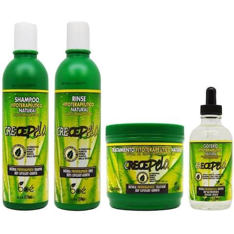 BOE Crece Pelo Fitoterapeutico Natural Shampoo and Rinse and Treatment and Gotero Set