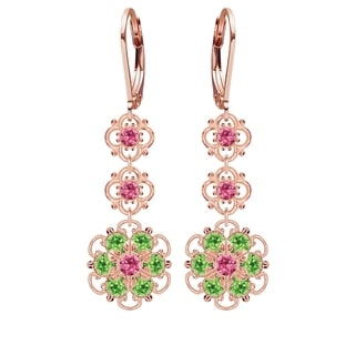 Lucia Costin Sterling Silver Pink/ Light Green Crystal Earrings,