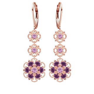 Lucia Costin Silver, Lilac, Violet Crystal Earrings