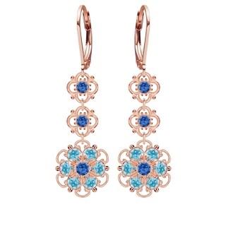 Lucia Costin Silver, Blue, Light Blue Austrian Crystal Earrings