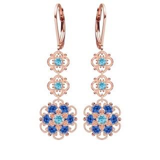 Lucia Costin Sterling Silver Light Blue/ Blue Crystal Earrings