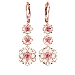 Lucia Costin .925 Silver, Pink, White Austrian Crystal Earrings