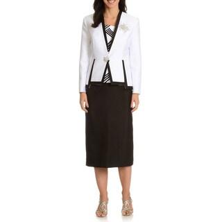 Ella Belle Women's 3-Piece Sequin and Rhinestone Snap Closure Skirt Suit