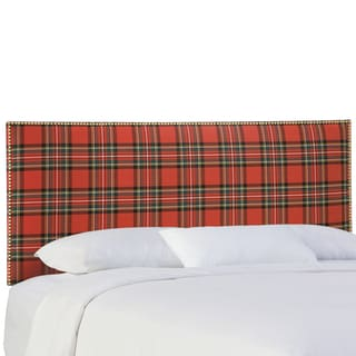 Skyline Furniture Nail Button Headboard in Ancient Stewart Red
