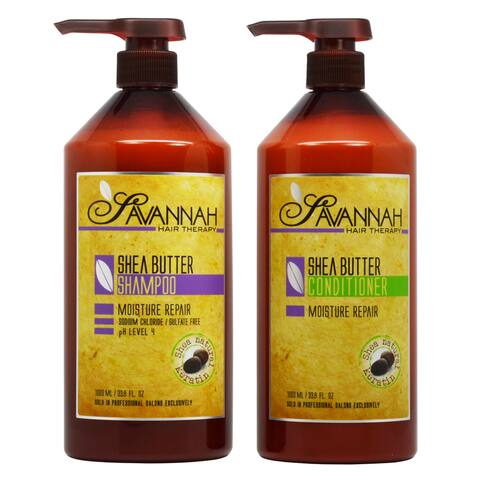 Savannah Hair Therapy Shea Butter 33.8-ounce Shampoo & Conditioner Duo Set