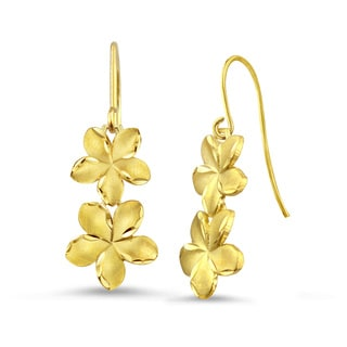 10k Yellow Gold Satin and Diamond-cut Plumeria Drop Earrings