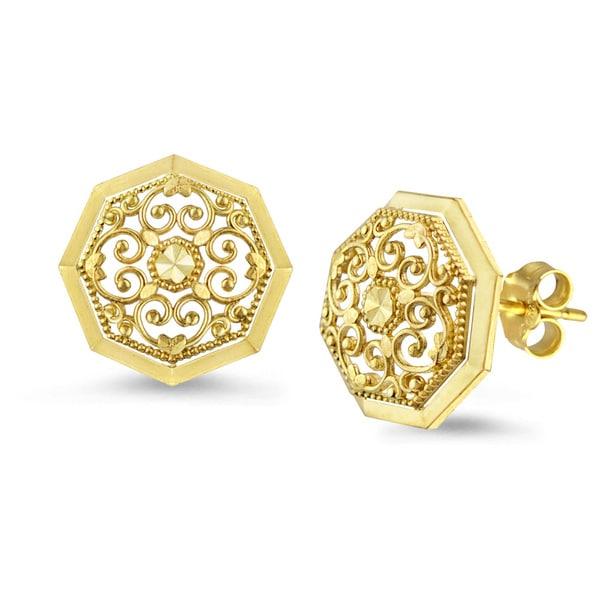 10k Yellow Gold Round Filigree Stud Earrings - Free Shipping Today ... Yellow Diamond Stud Earrings
