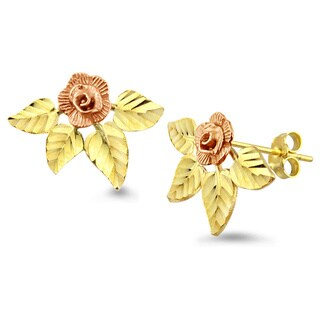 10k Gold Rose and Leaves Stud Earrings