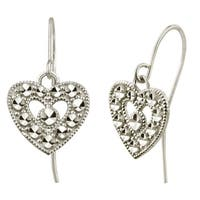 10k White Gold Diamond-cut Heart Dangle Earrings