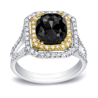Auriya 14k Two-tone Gold 1 3/4ct TDW Cushion Cut Black Diamond Engagement Ring (Black)