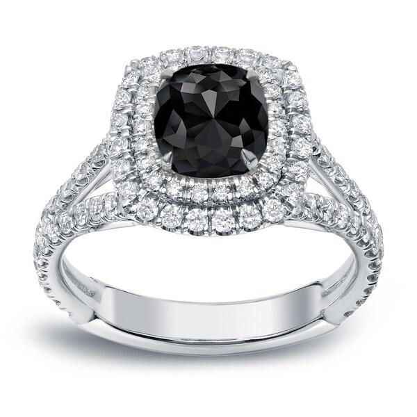 Auriya 18k White Gold 2ct TDW Cushion Cut Black Diamond Halo Engagement Ring