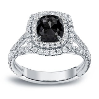 Auriya 18k White Gold 2ct TDW Cushion-Cut Black Diamond Engagement Ring