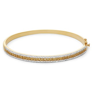 Sterling Silver Plated In Yellow Gold 1 Carat Diamond Bangle Style Bracelet