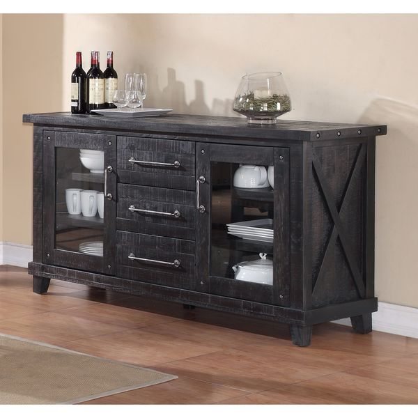 Shop Solid Pine Industrial Wood Sideboard Free Shipping