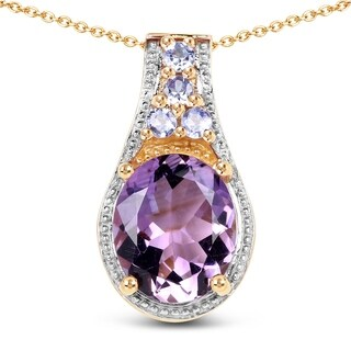 Malaika .925 Sterling Silver 4.56 Carat Genuine Amethyst & Tanzanite 14K Yellow Gold Plated Pendant