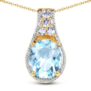 Malaika .925 Sterling Silver 5.46 Carat Genuine Blue Topaz & Tanzanite 14K Yellow Gold Plated Pendant