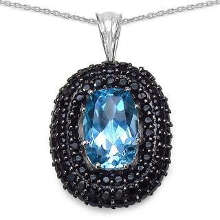 Olivia Leone .925 Sterling Silver 6.70 Carat Genuine Blue Topaz & Black Spinel Pendant