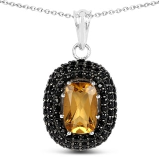 Olivia Leone .925 Sterling Silver 5.85 Carat Genuine Citrine & Black Spinel Pendant