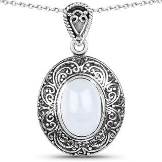 Malaika .925 Sterling Silver 6.98 Carat Genuine Aquamarine Pendant