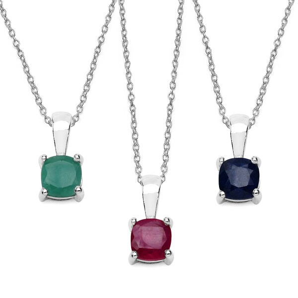Malaika Sterling Silver 1.85 Carat Emerald Ruby and Sapphire Pendant Set. Opens flyout.